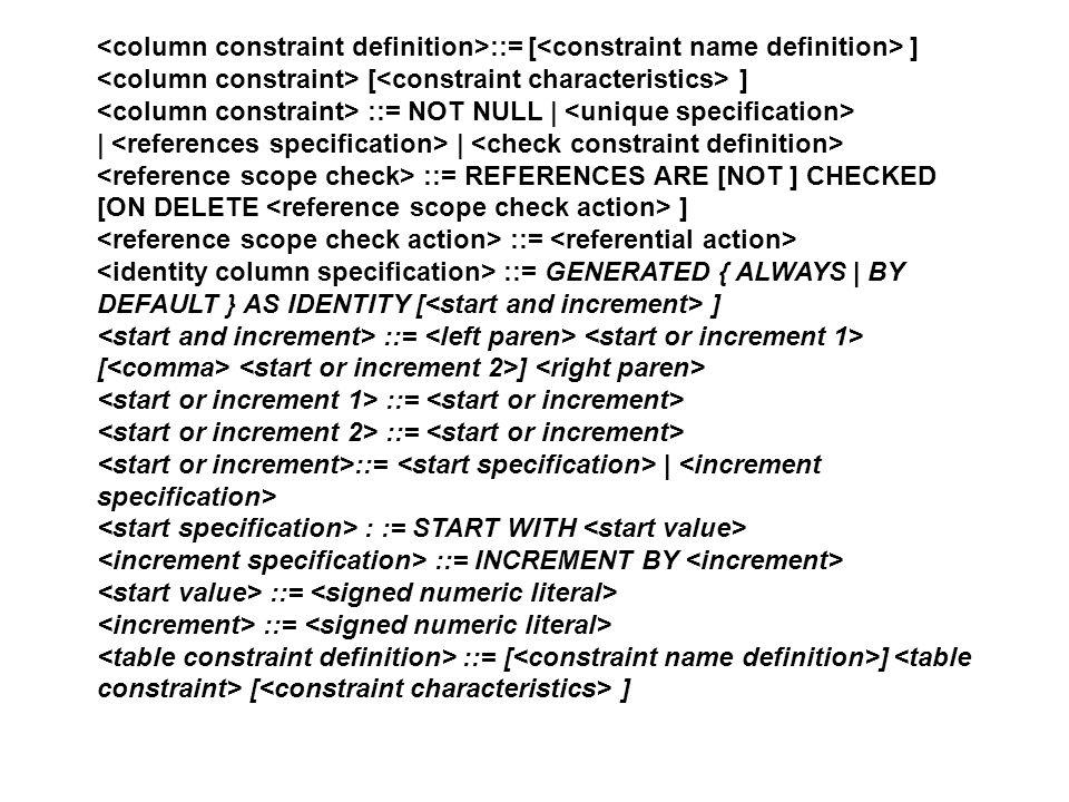 <column constraint definition>::= [<constraint name definition> ] <column constraint> [<constraint characteristics> ]